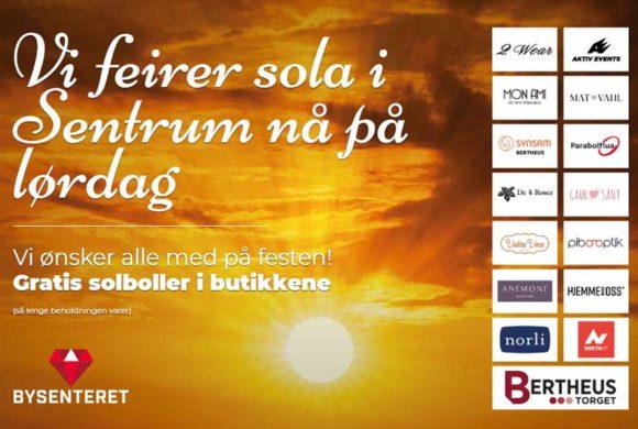 Vi feirer SOLA i Sentrum nå på lørdag – hjertelig velkommen!